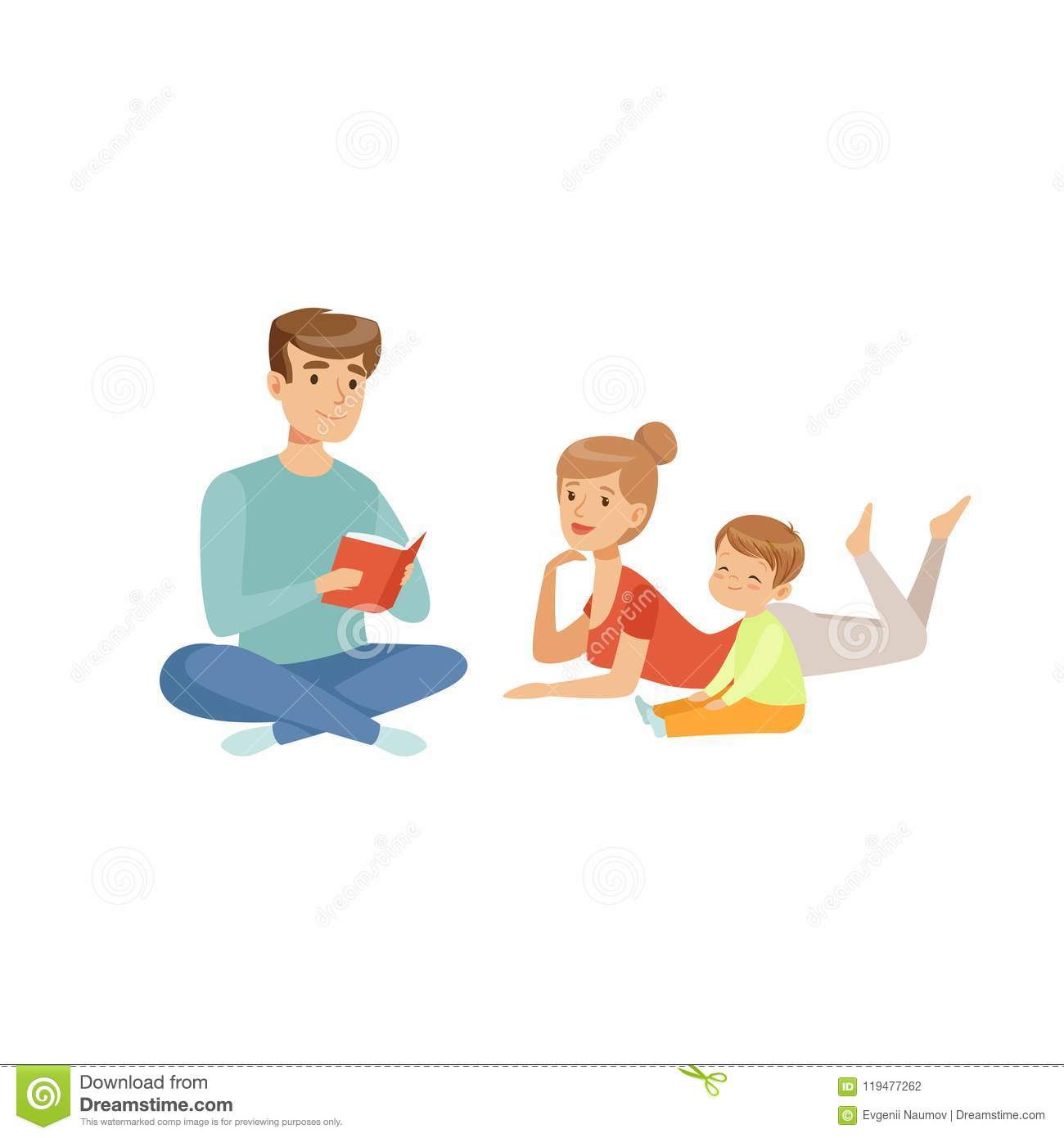 Family Reading A Book Together Happy Family And Parenting Concept Vector Illustration On A White Background Stock Vector Illustration Of Adorable Daughter 119477262