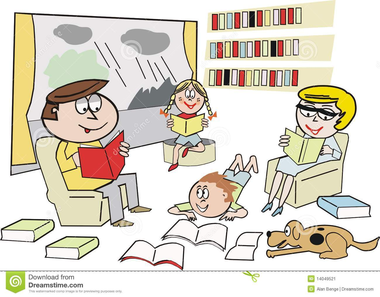 Family Reading Cartoon Stock Image - Image: 14049521