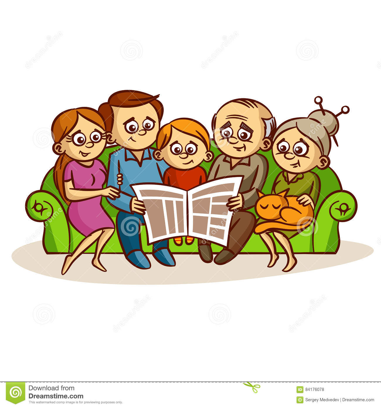 family reading a newspaper stock vector. illustration of father