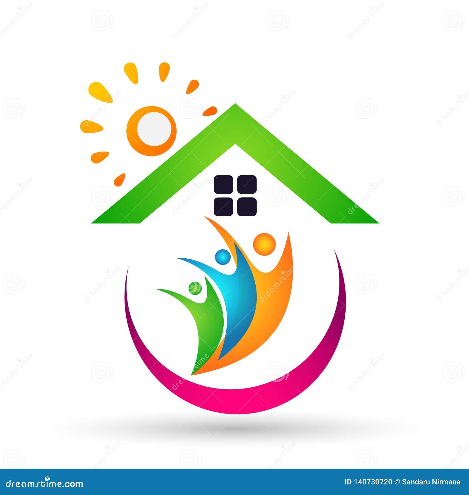 Family Real Estate Sun Home Logo, Family, Parent, Kids,green Love ...