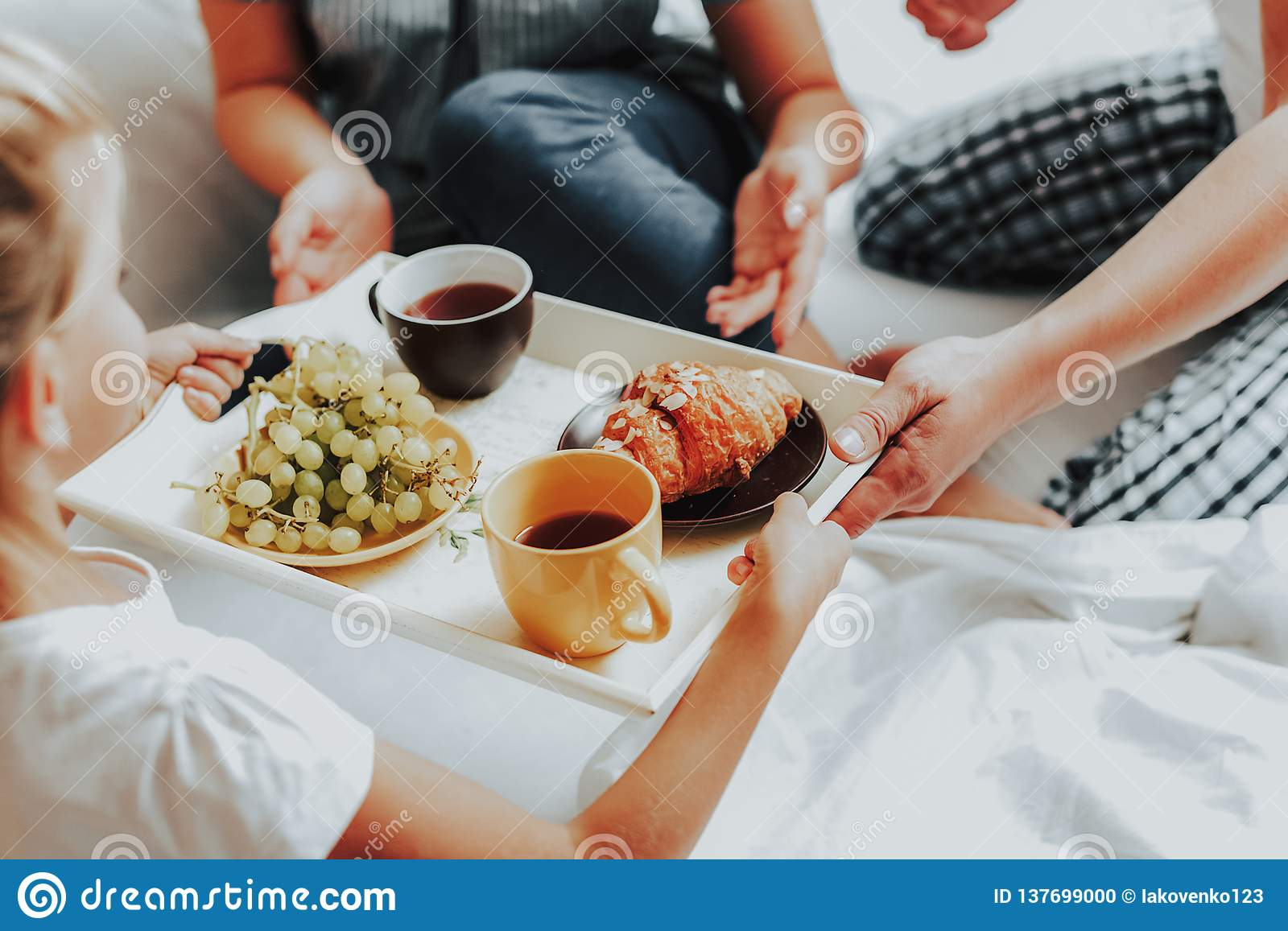 Happy Child Bringing Breakfast To Parents In Bed Stock Photo Image Of Interior Morning 137699000