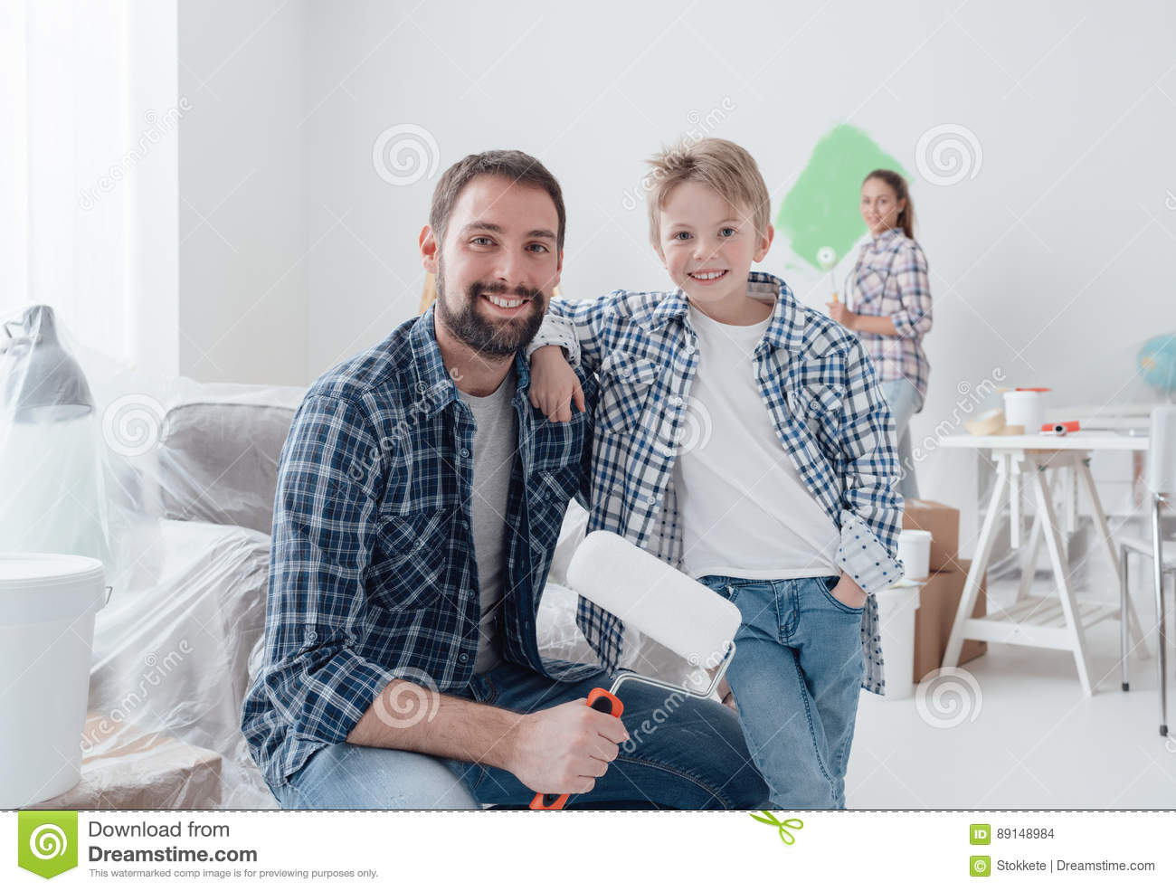 Family renovating their new apartment
