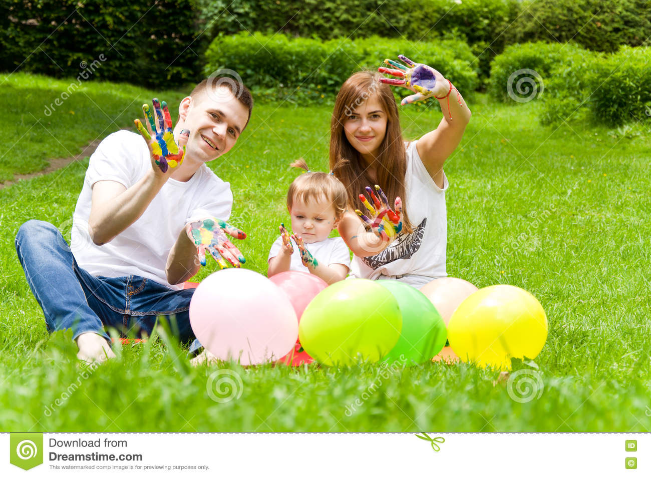 Family Resting In Nature. Paint Colors Each Other Stock Image ...