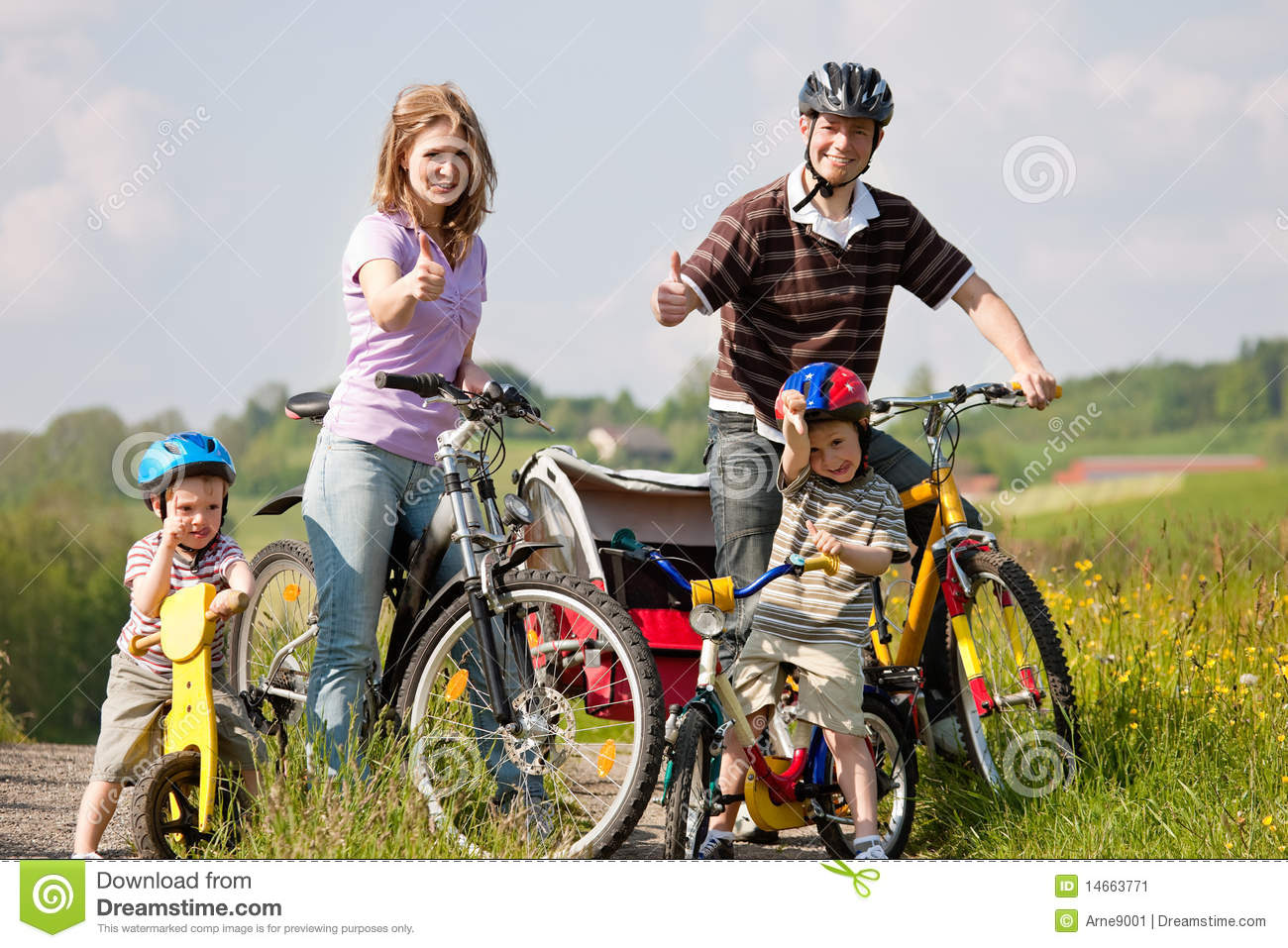Family Riding Bicycles In Summer Stock Image Image 14663771