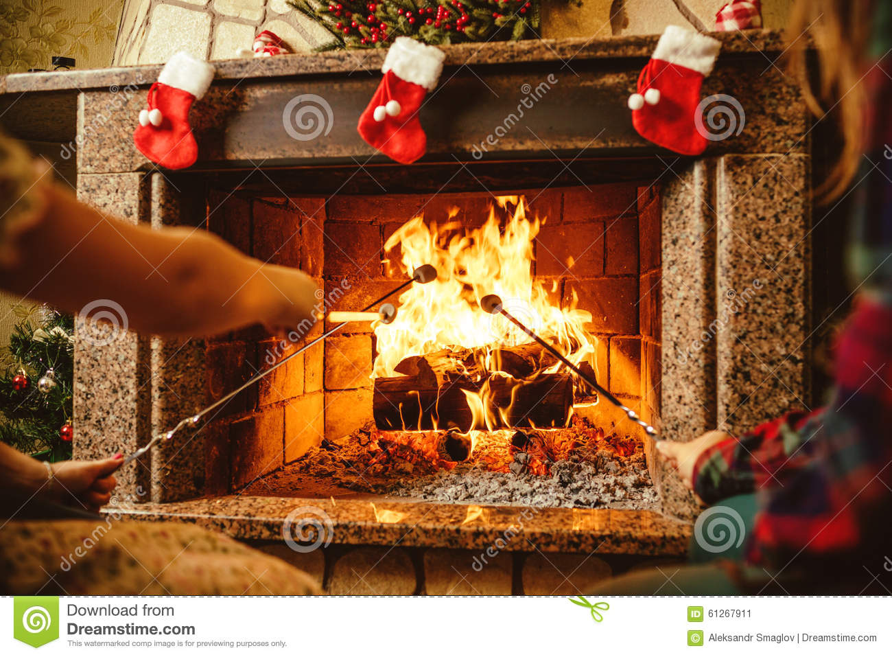 Family Roasting Marshmallows By The Fire. Cozy Chalet Home ...