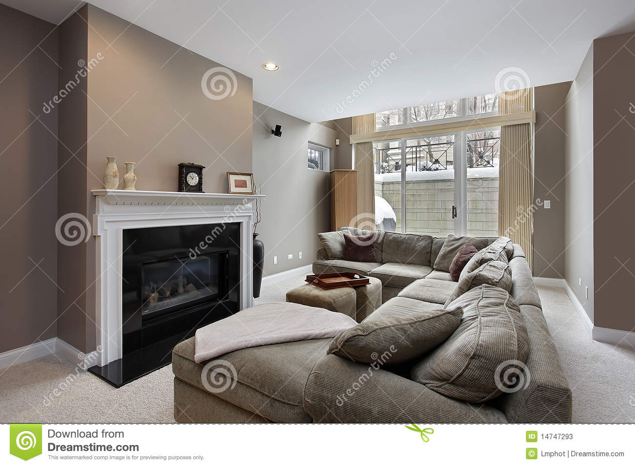 Family Room With Fireplace Part - 36: Family Room With Black Fireplace Stock Photos