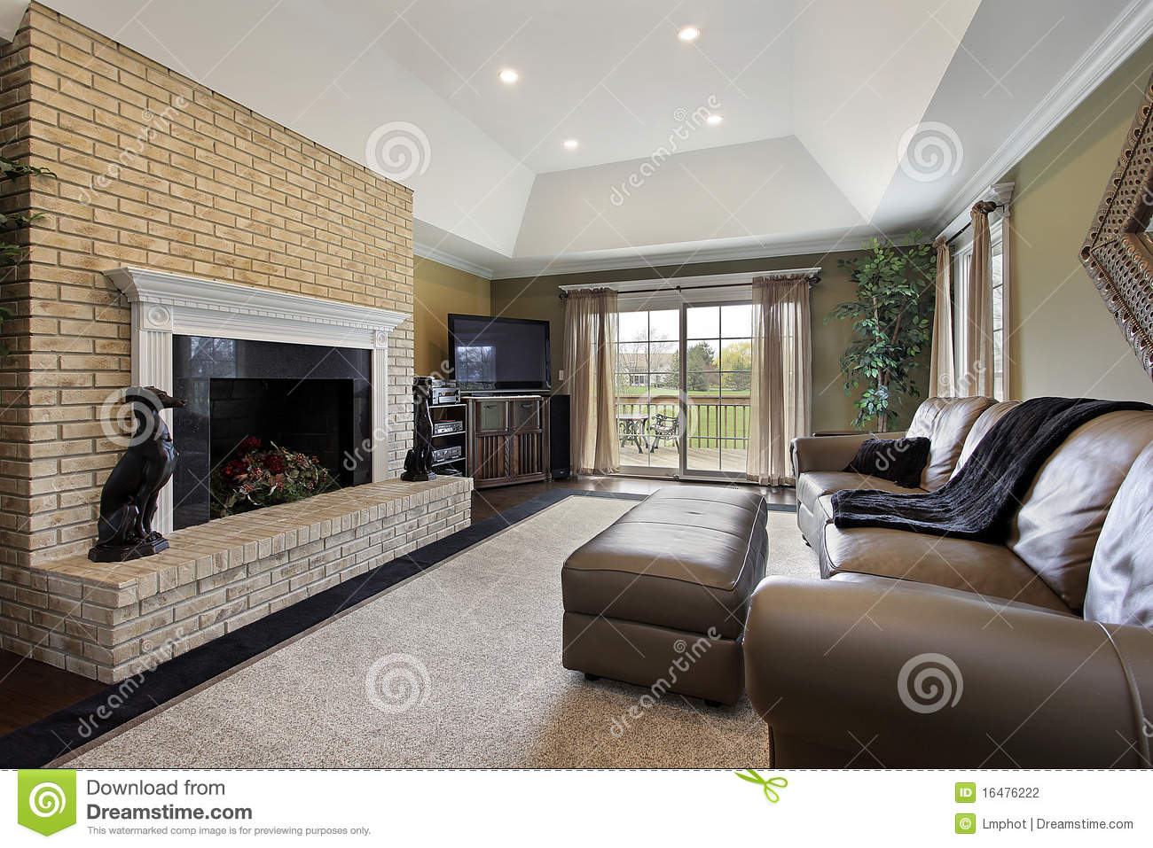 Family Room With Brick Fireplace Stock Photography Image