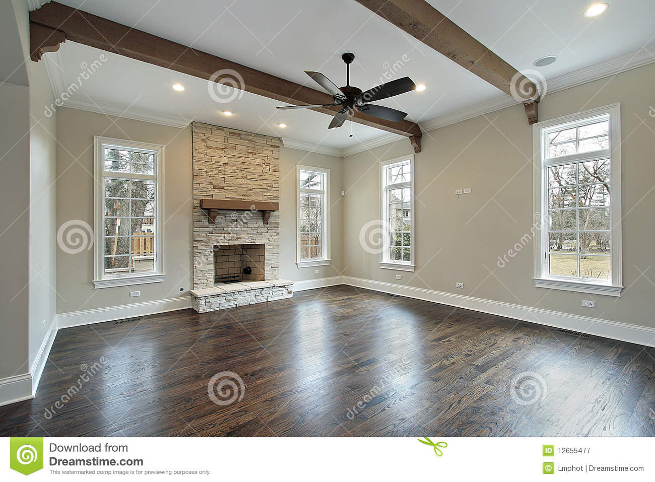 Family Room With Ceiling Wood Beams Stock Image Image
