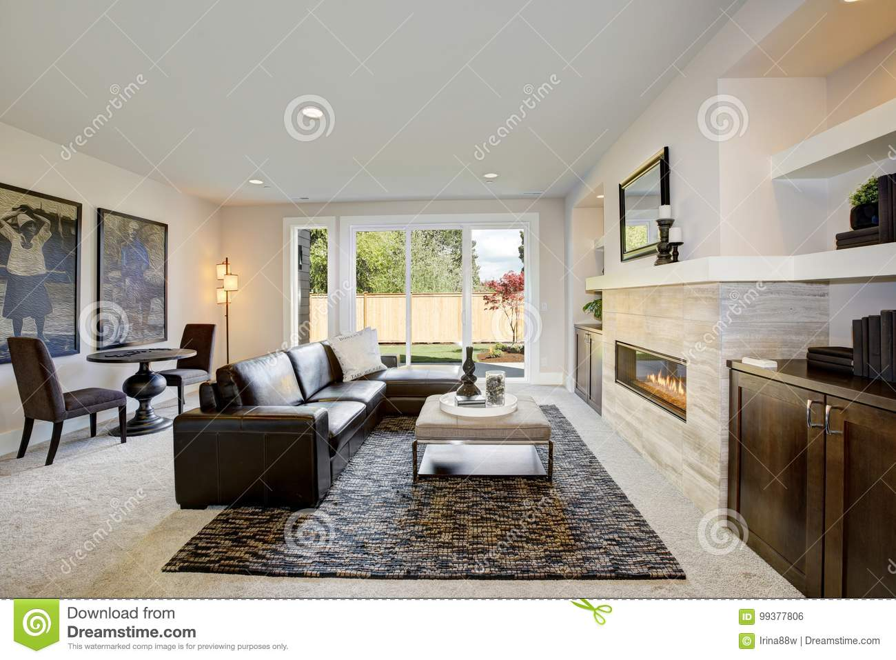 Family Room Design With Wet Bar Nook Stock Photo Image Of Architecture Brown 99377806