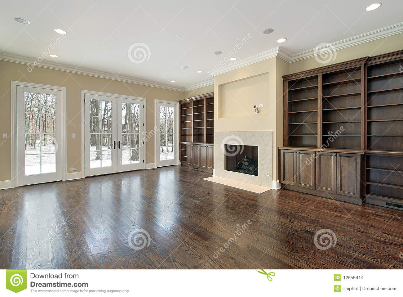 Family Room With Fireplace Stock Photo Image Of
