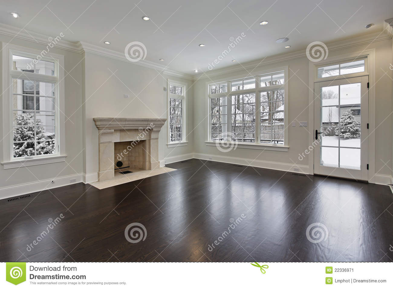 Family room with fireplace stock image image 22336971 for New construction fireplace