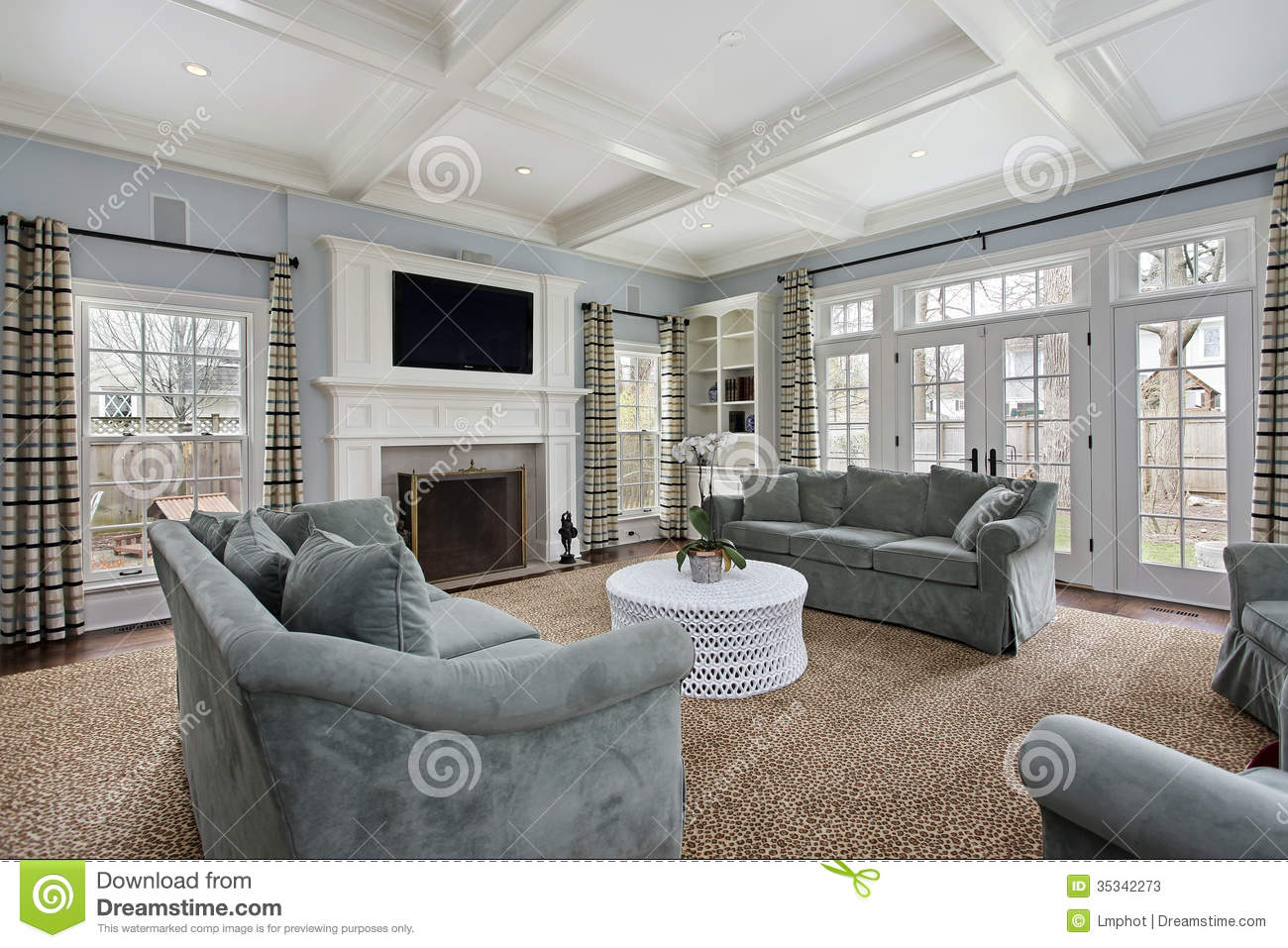 Family Room With Fireplace Stock Photos Image 35342273