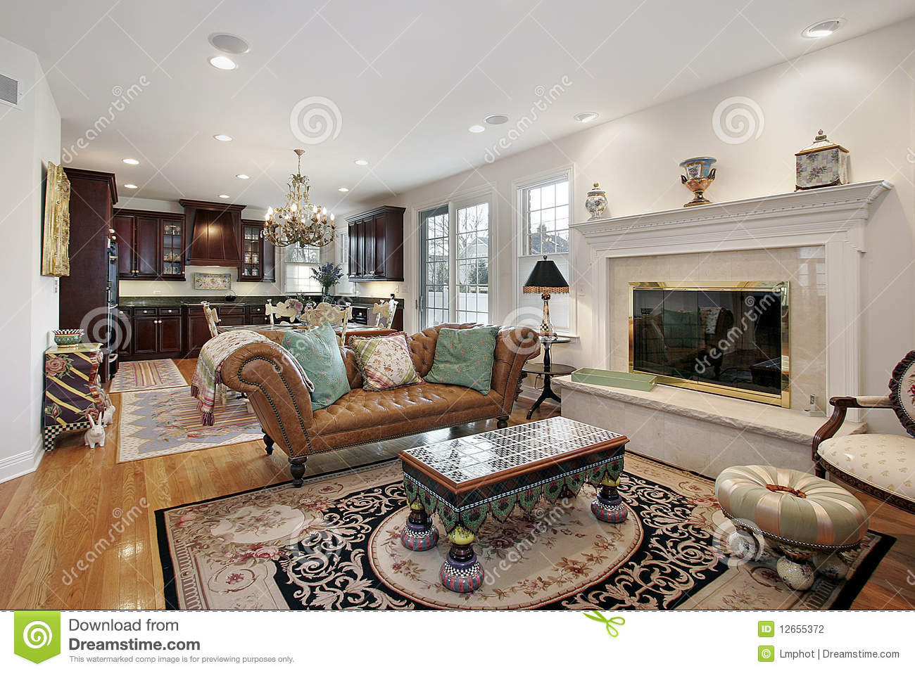 Family Room And Kitchen Together Stock Photo Image 12655372