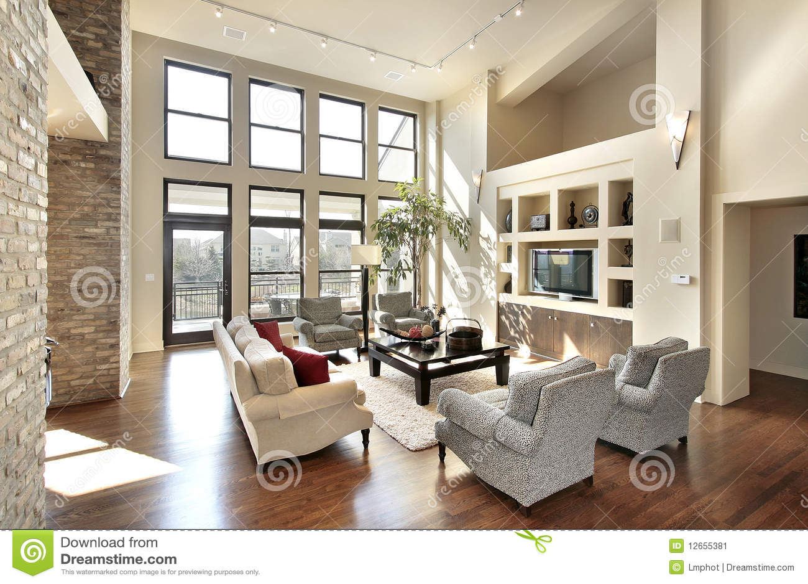 Family Room In Open Floor Plan Stock Image Of Lamp