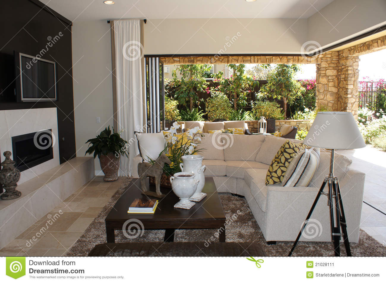 Family Room With Outdoor Livingroom Stock Image - Image