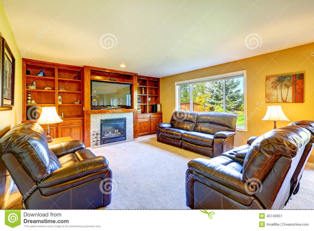 Family Room With Rich Leather Furniture Set Stock Photo