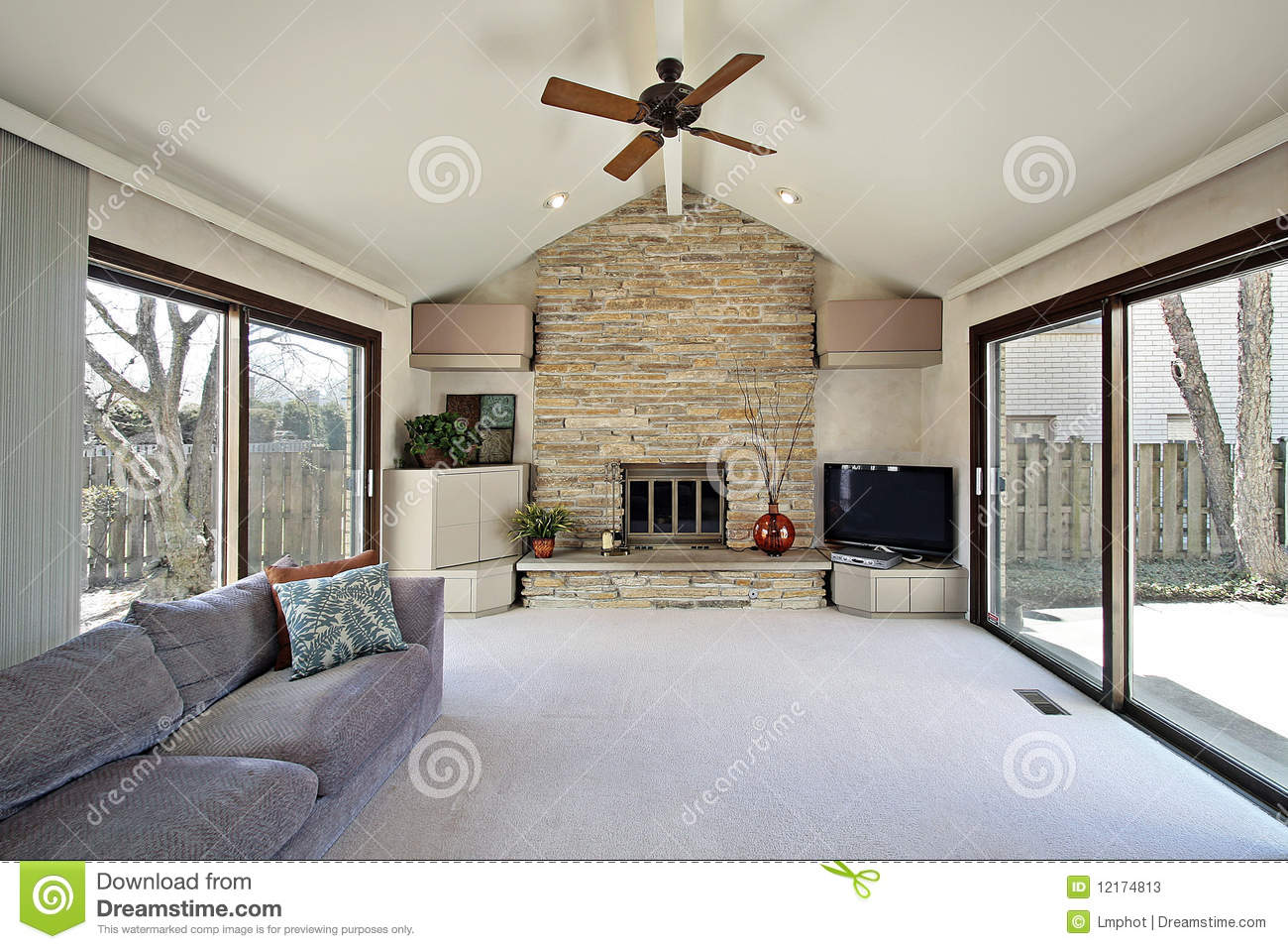 Family Room With Stone Fireplace Stock s Image