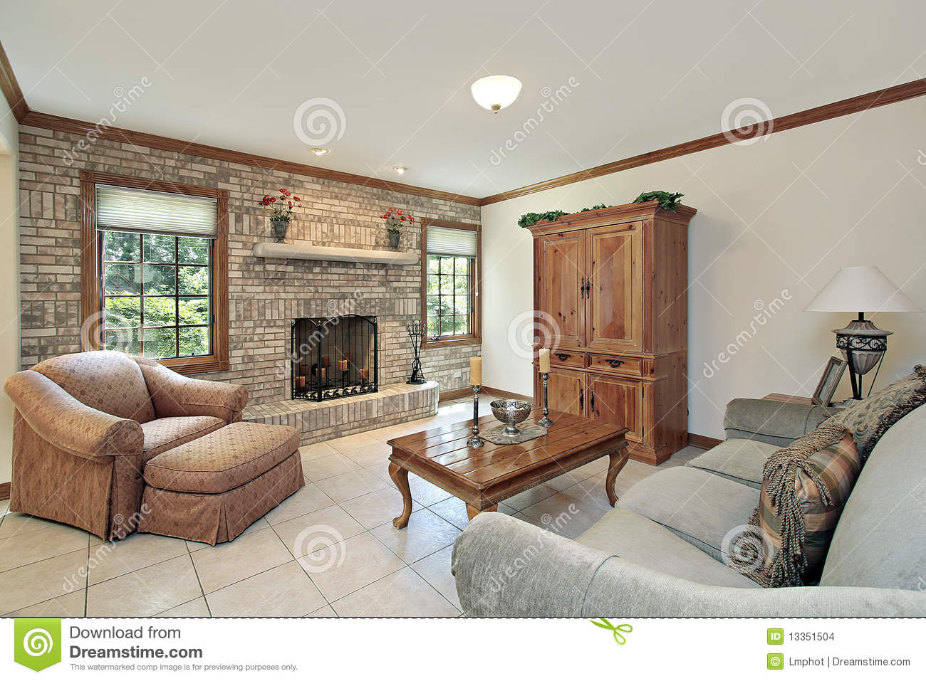 Family Room With Stone Fireplace Stock Images Image