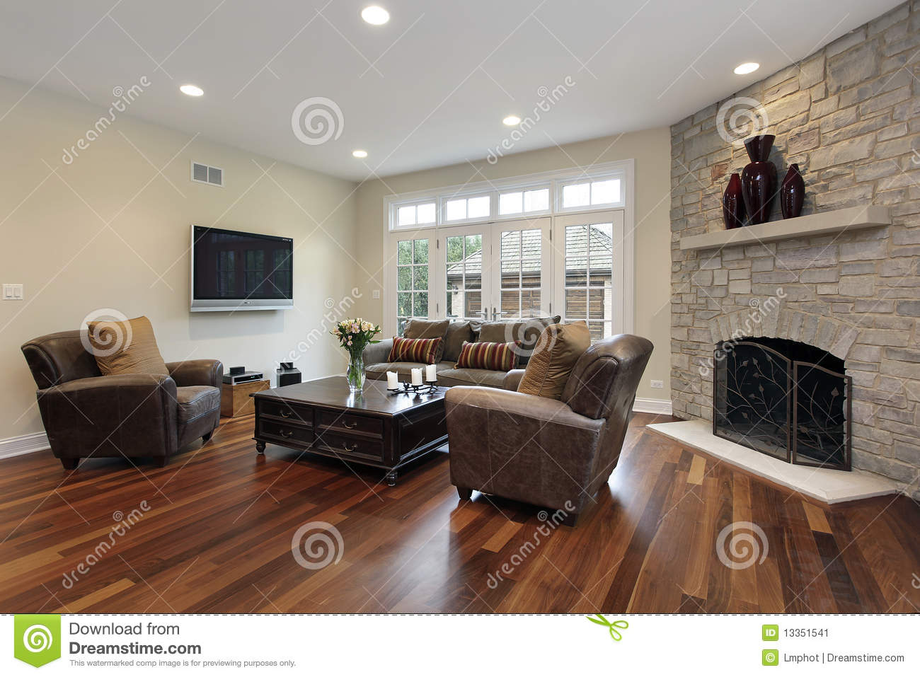 Family Room With Stone Fireplace Stock Image Of
