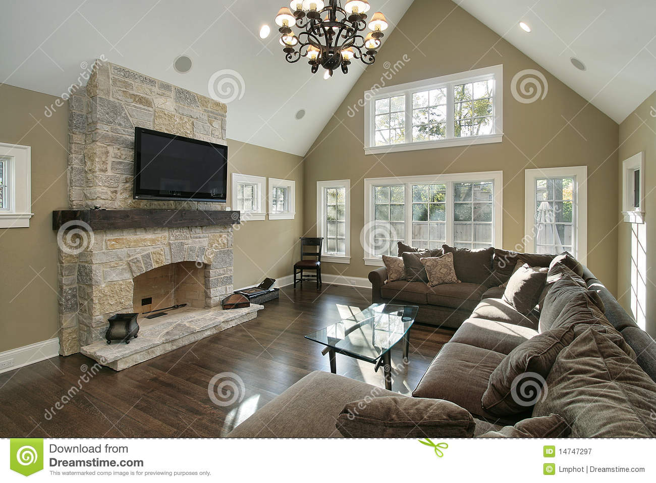 Family Room With Stone Fireplace Stock Image Image 14747297