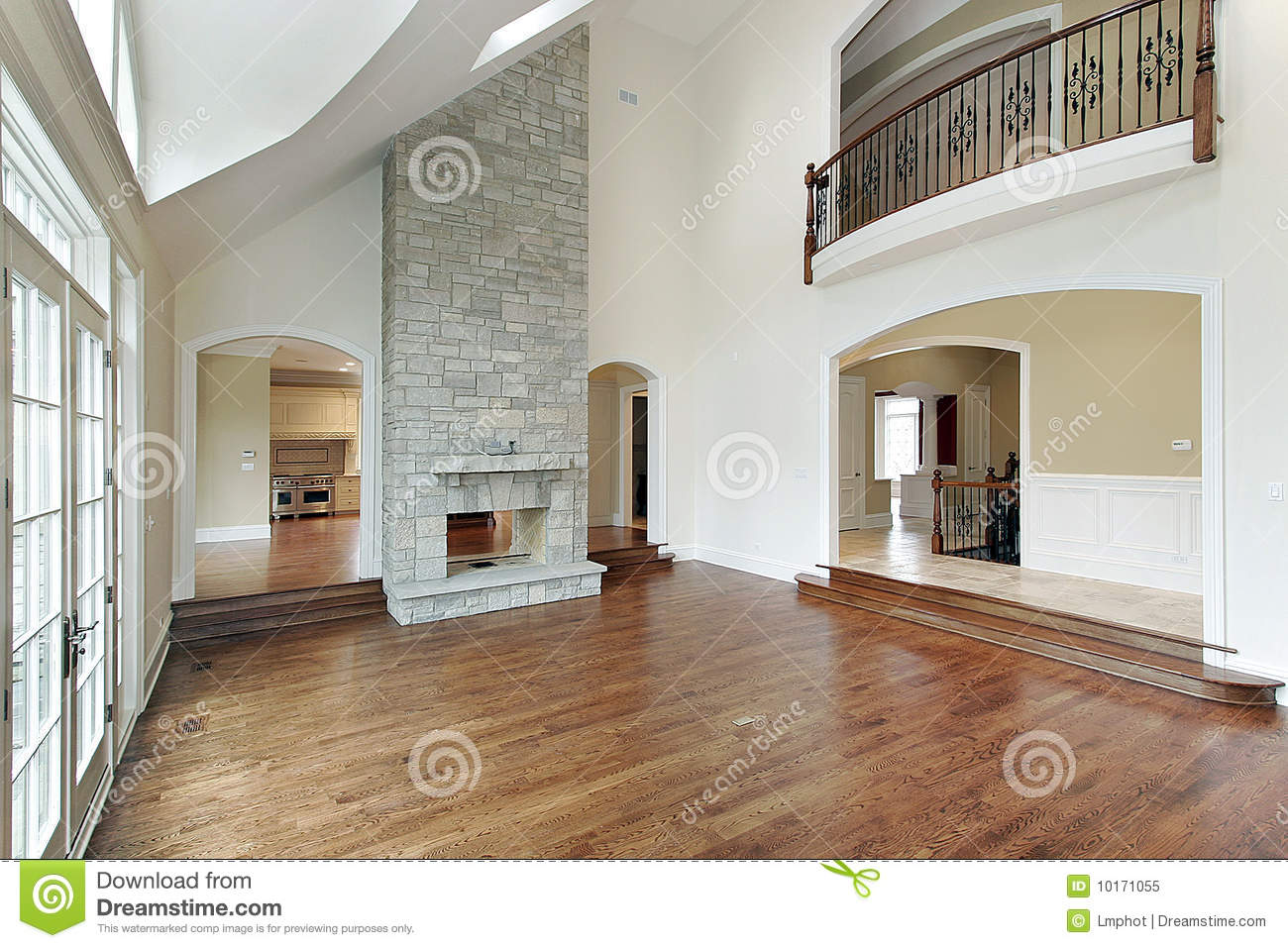 Family room with two story fireplace stock image image 10171055 - House plans with fireplaces ...
