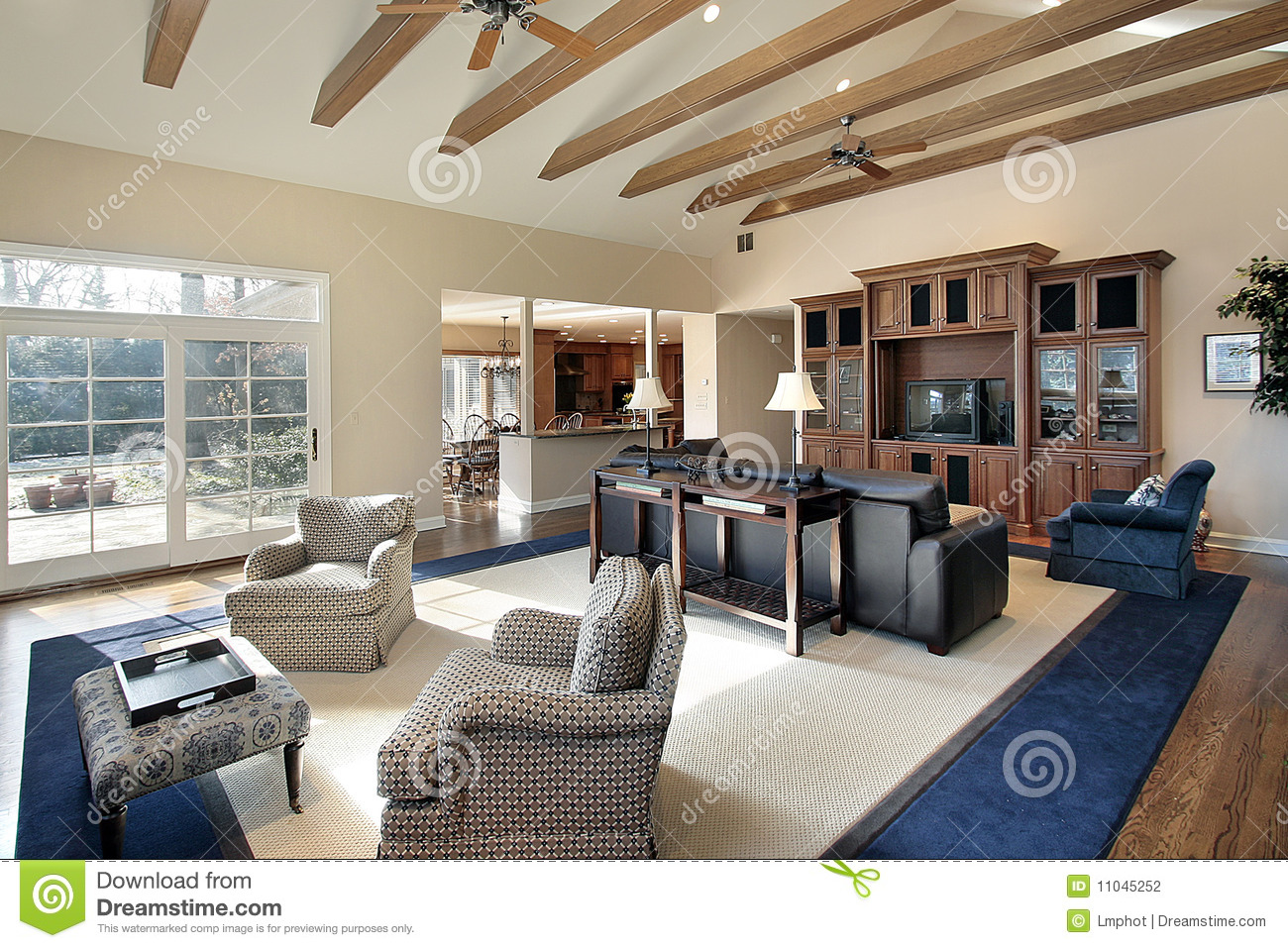 Family Room With Wood Beams Stock Photo Image Of Leather