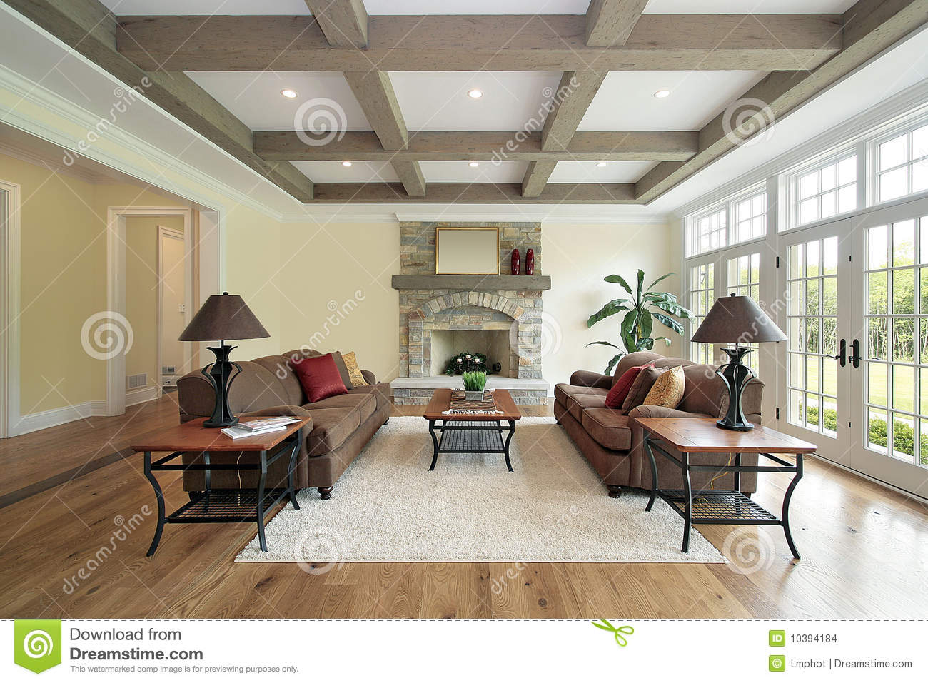 Family Room With Wood Ceiling Beams Stock Image