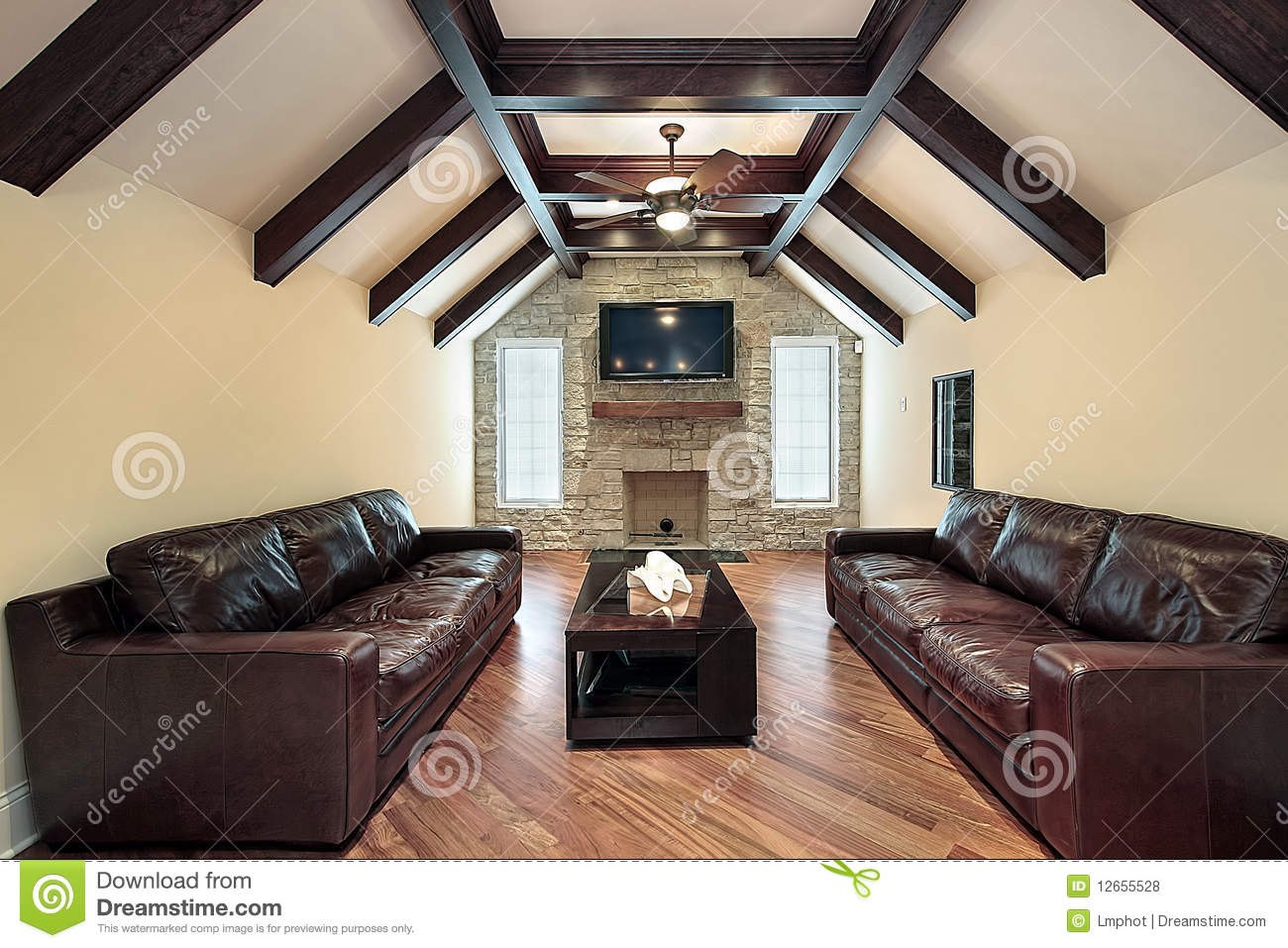 Celing Window Family Room With Wood Ceiling Beams Royalty Free Stock
