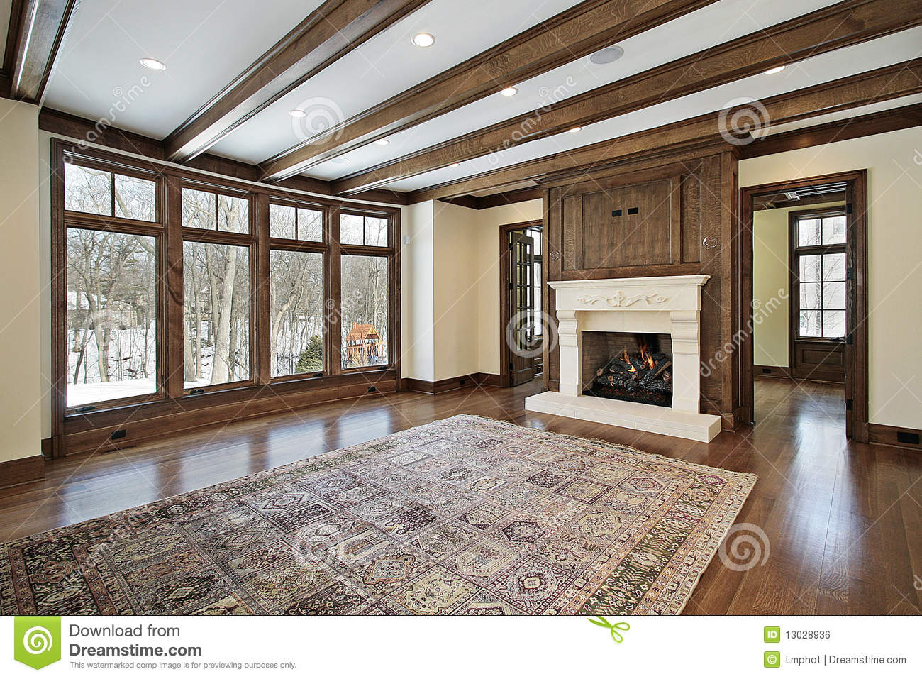 Family Room With Wood Ceiling Beams Stock Photo Image