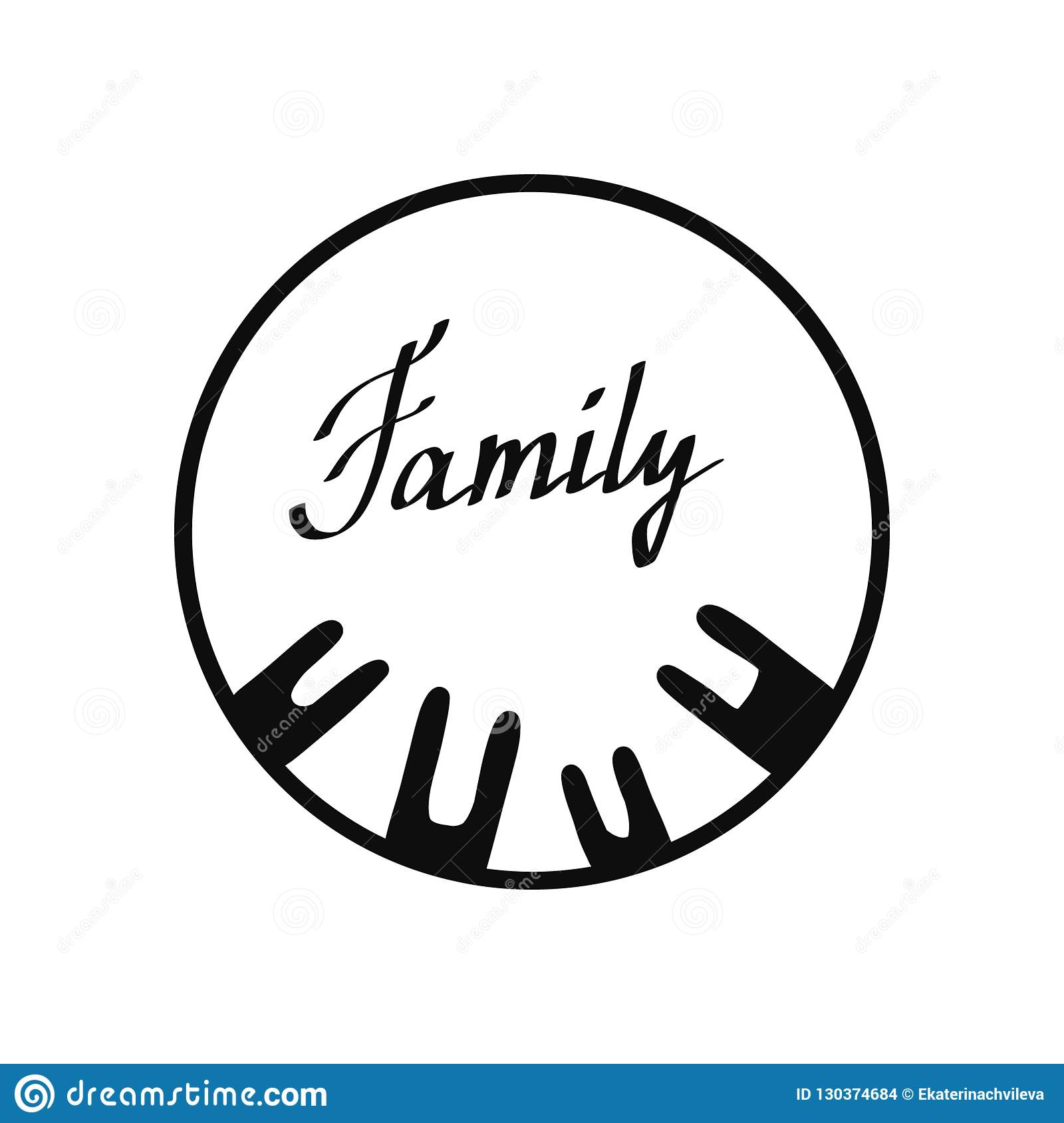 Family Round Black And White Logo Hand Drawn Stock Vector Illustration Of Child Color 130374684