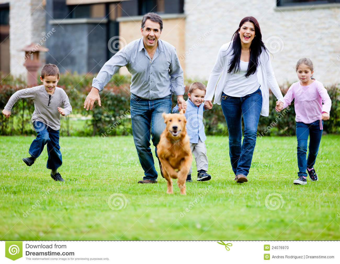 Family Running With Dog Stock Photo - Image: 24076970 Relaxing Dog Music Audio