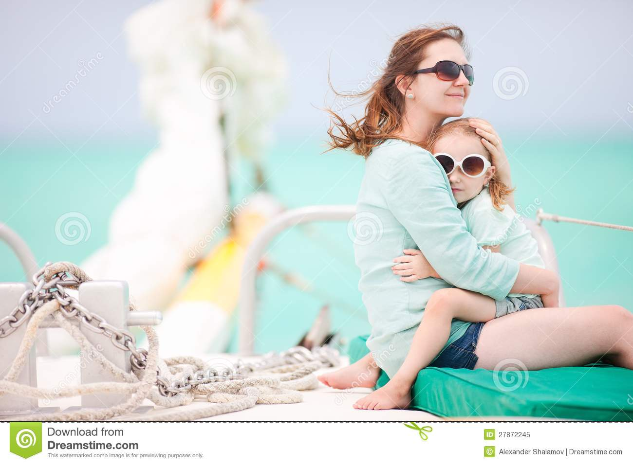 Family sailing on a luxury yacht royalty free stock photo for Mother and daughter spa weekend