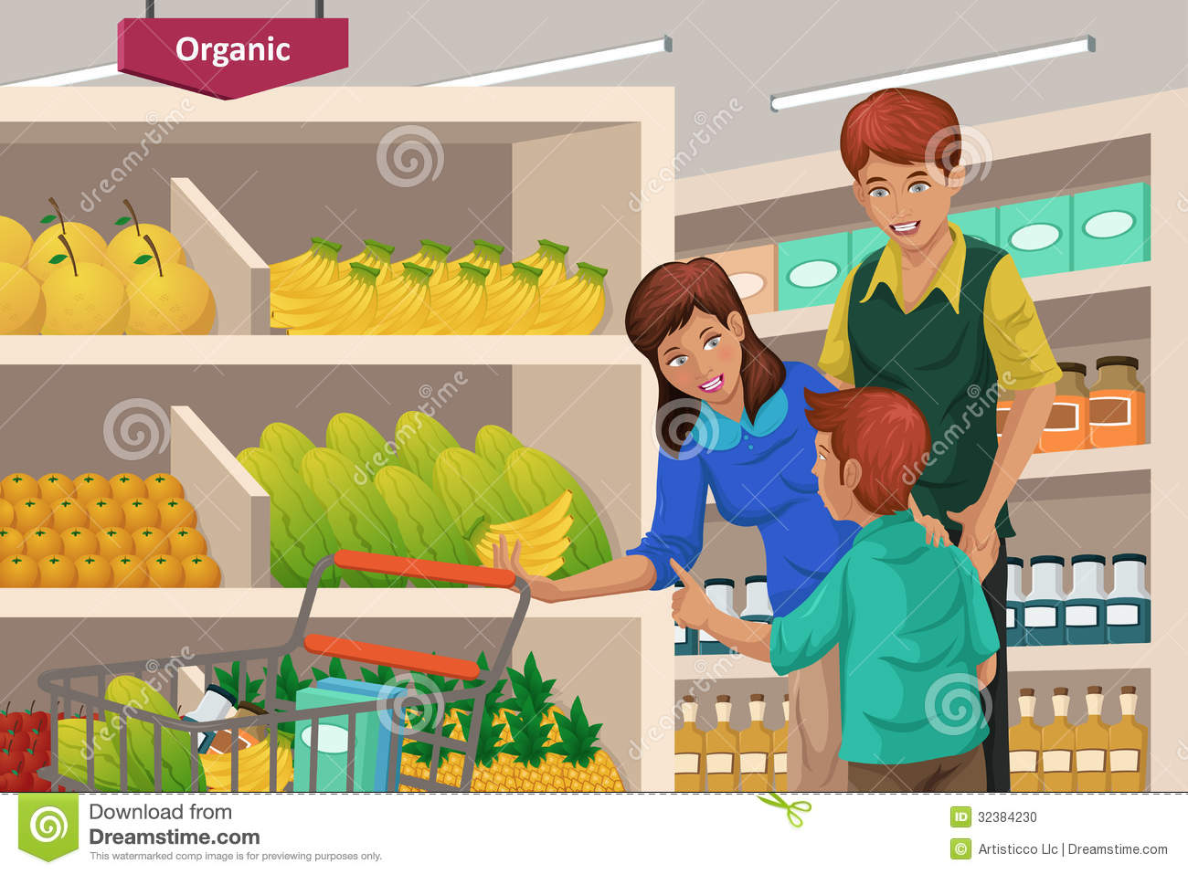 Family Shopping Fruits In A Supermarket Stock Photo - Image: 32384230