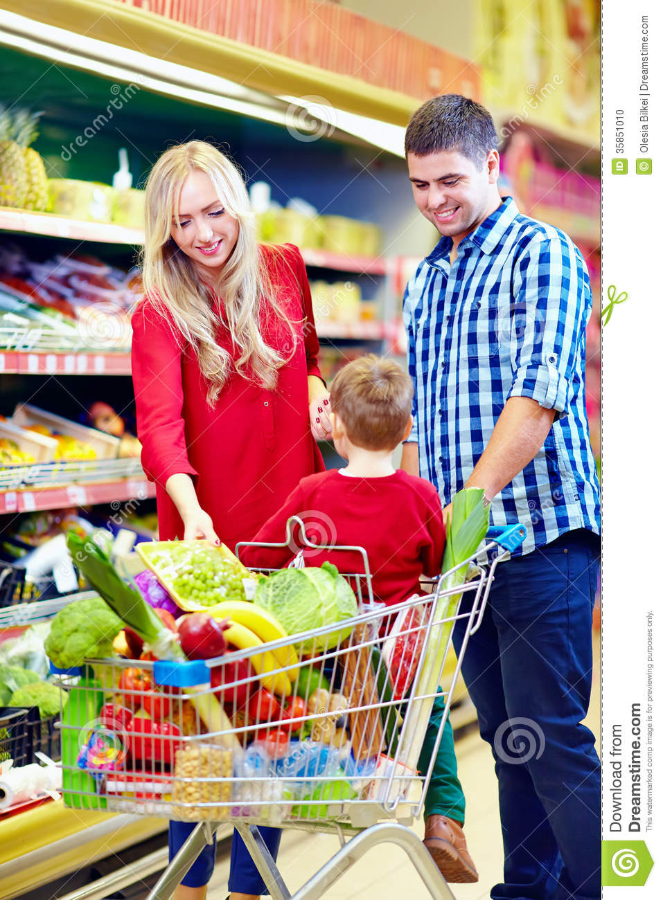 Family Shopping In Grocery Market Stock Photo - Image: 35851010