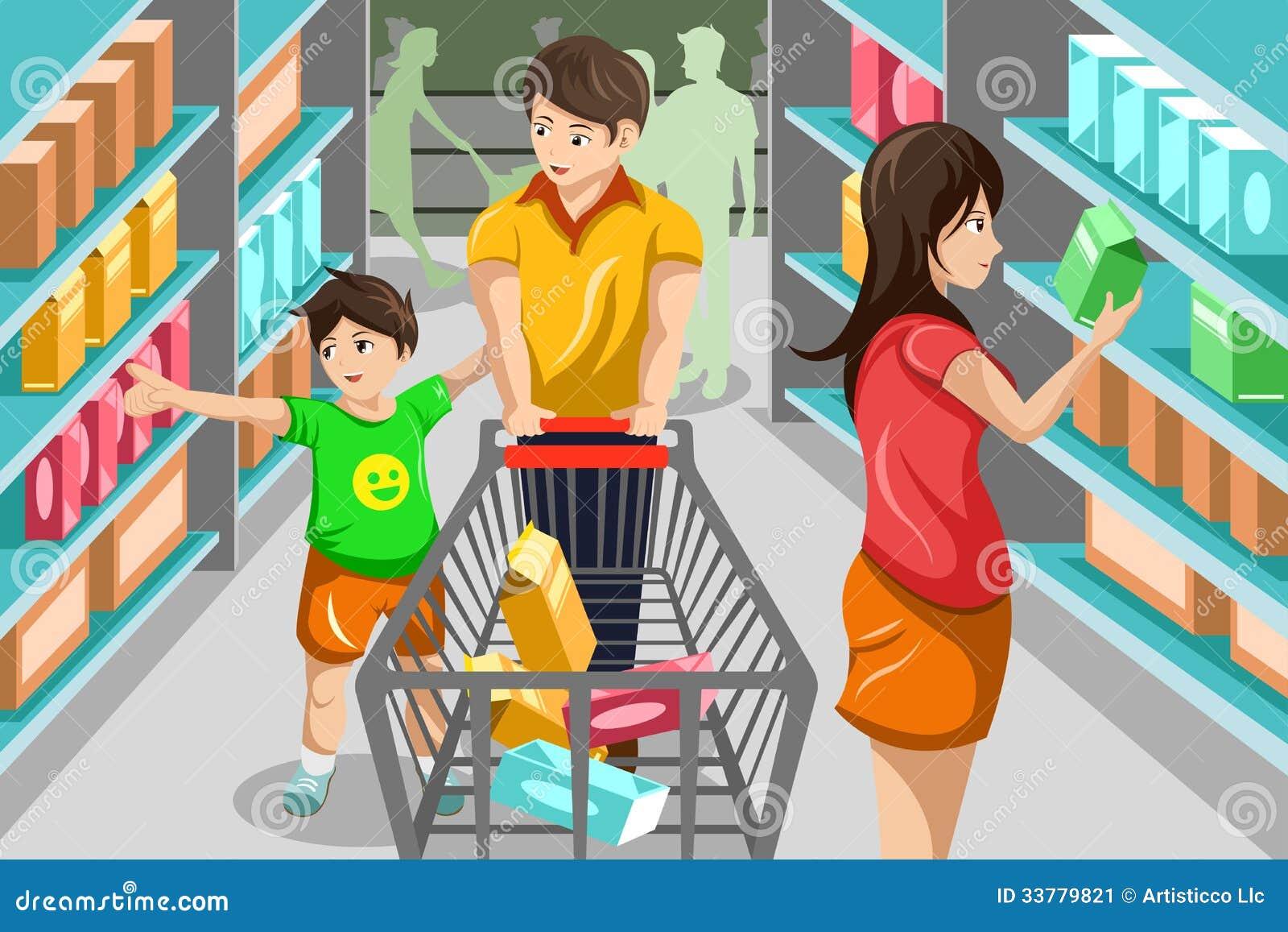 Family Shopping Grocery Vector Illustration Happy Supermarket Vegetable Shop