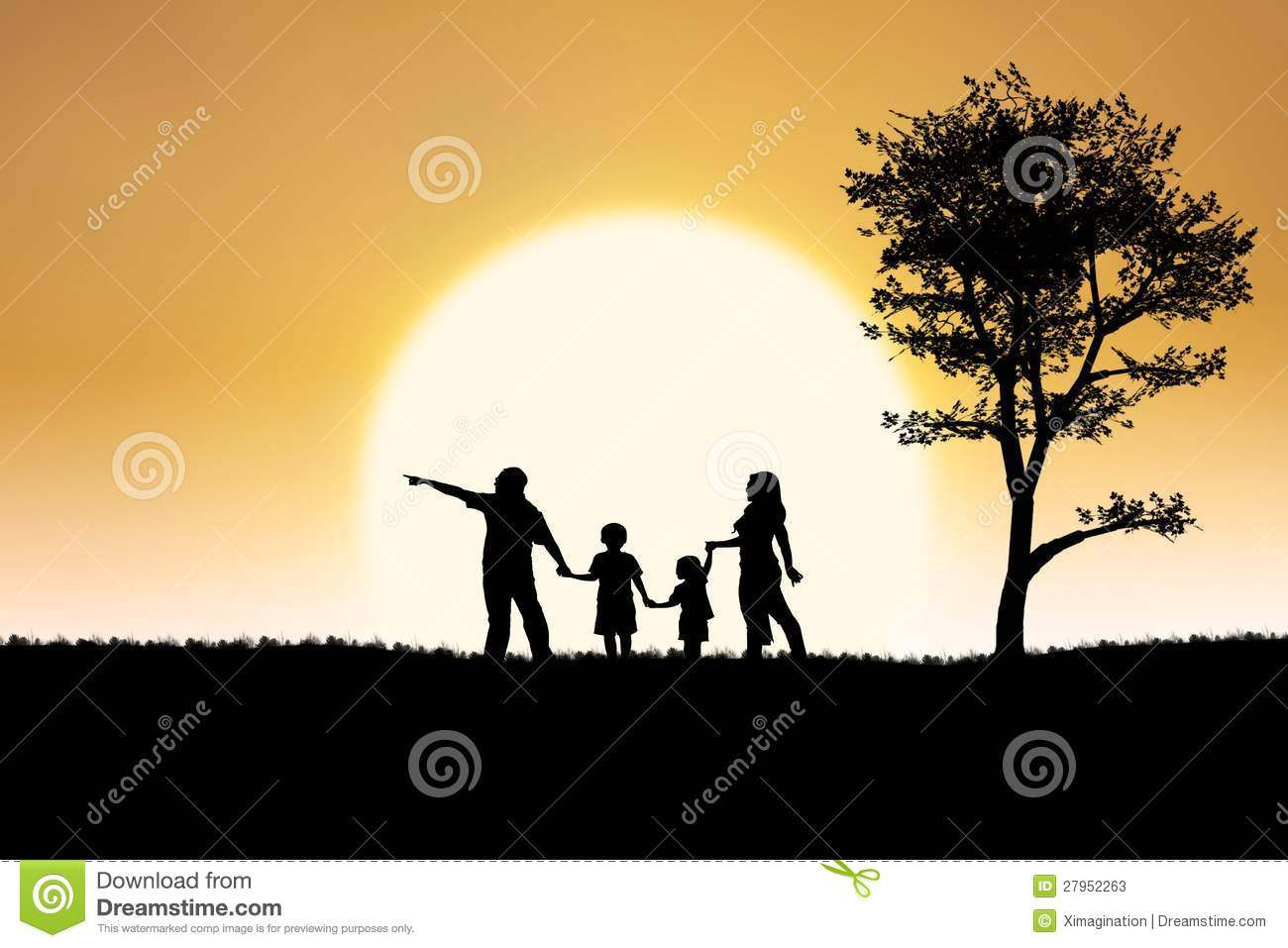 Family silhouette of on sunset and tree background stock - Family tree desktop wallpaper ...