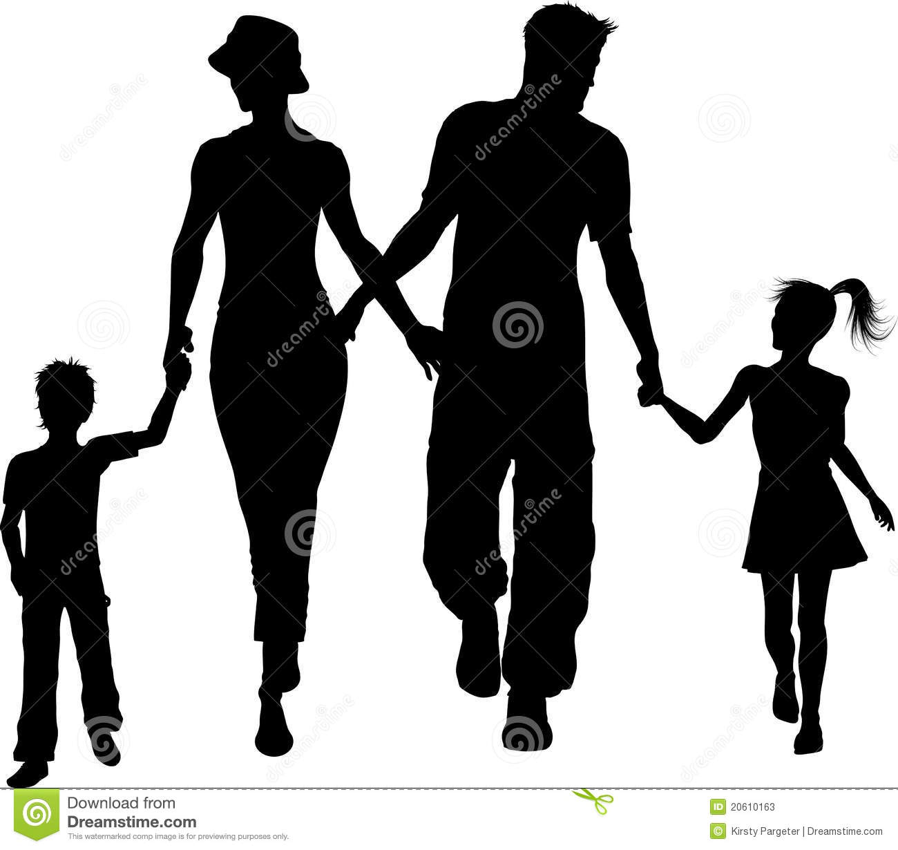 Silhouette of a family walking holding hands Family Walking Silhouette