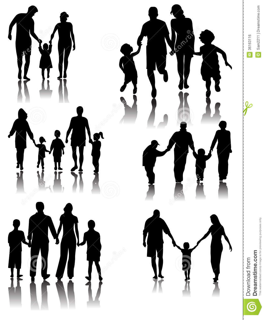 Family Silhouettes . Vector Royalty Free Stock Image - Image: 36163116