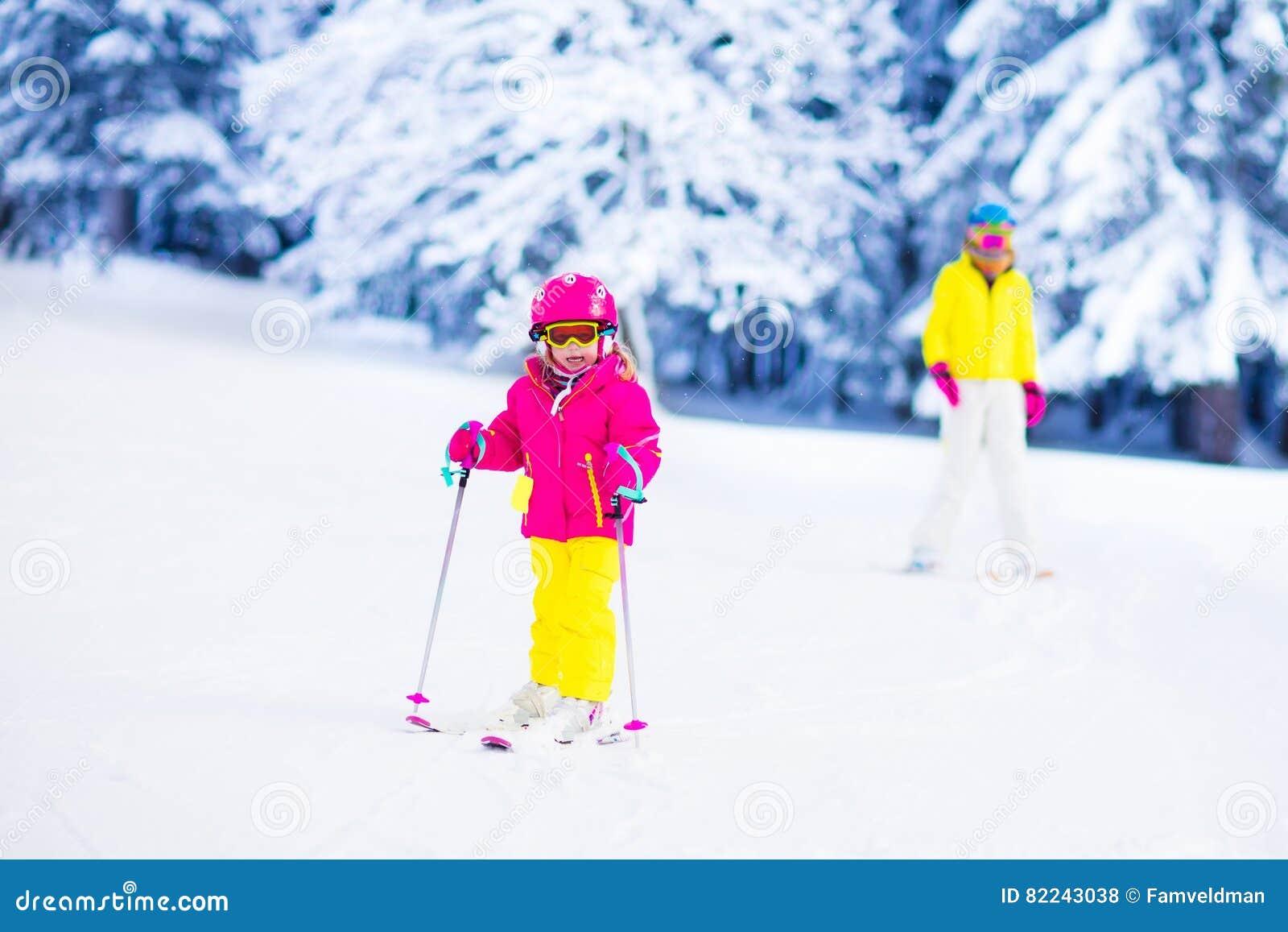 43da58699ba9 Family Ski And Snow Fun In Winter Mountains Stock Photo - Image of ...