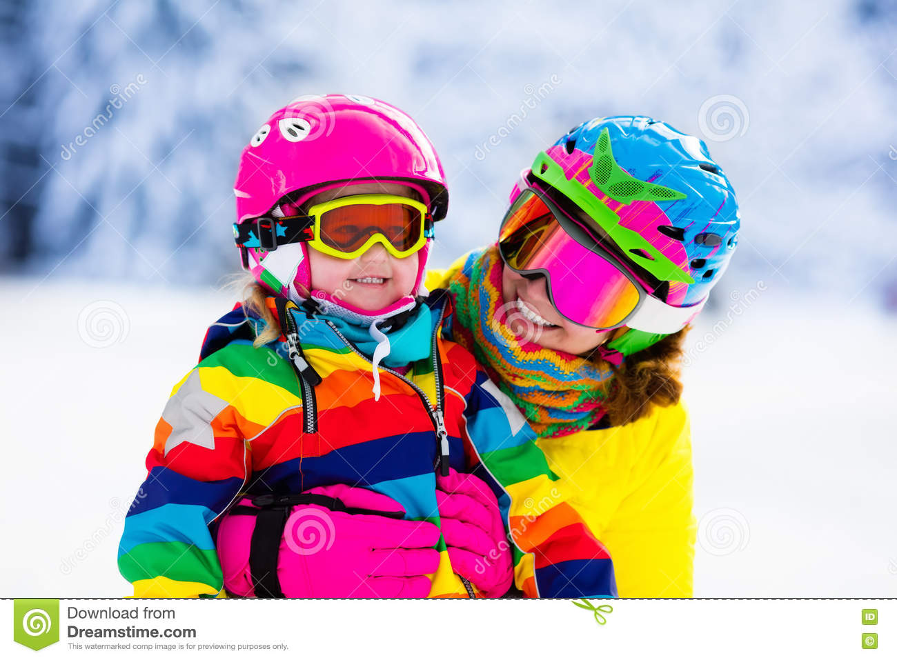 a07e7ee0c393 Family Ski And Snow Fun In Winter Mountains Stock Image - Image of ...