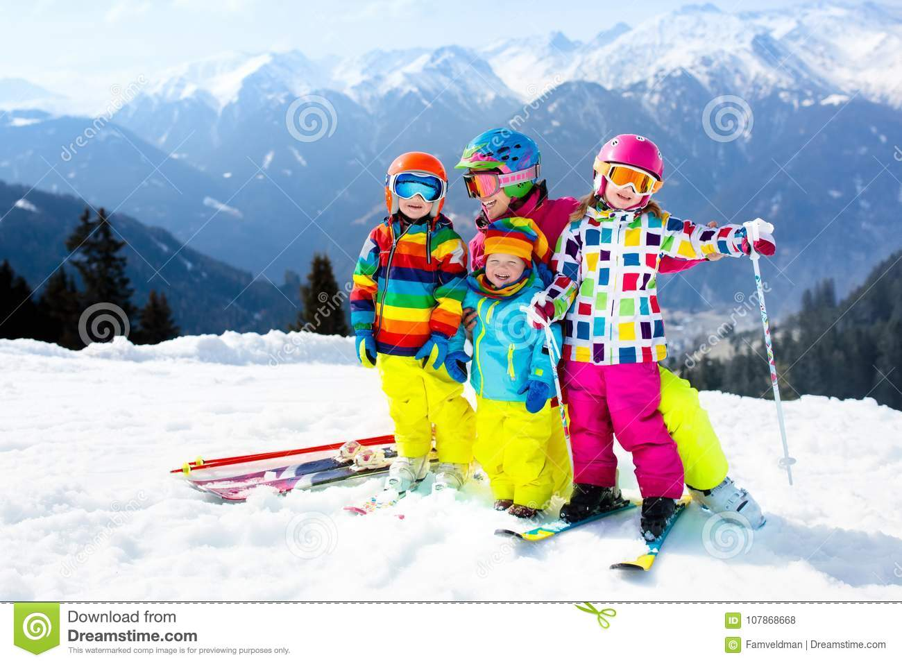 Family Ski Vacation Group Of Young Skiers In The Alps Mountains Mother And Children Skiing Winter Parents Teach Kids Alpine Downhill
