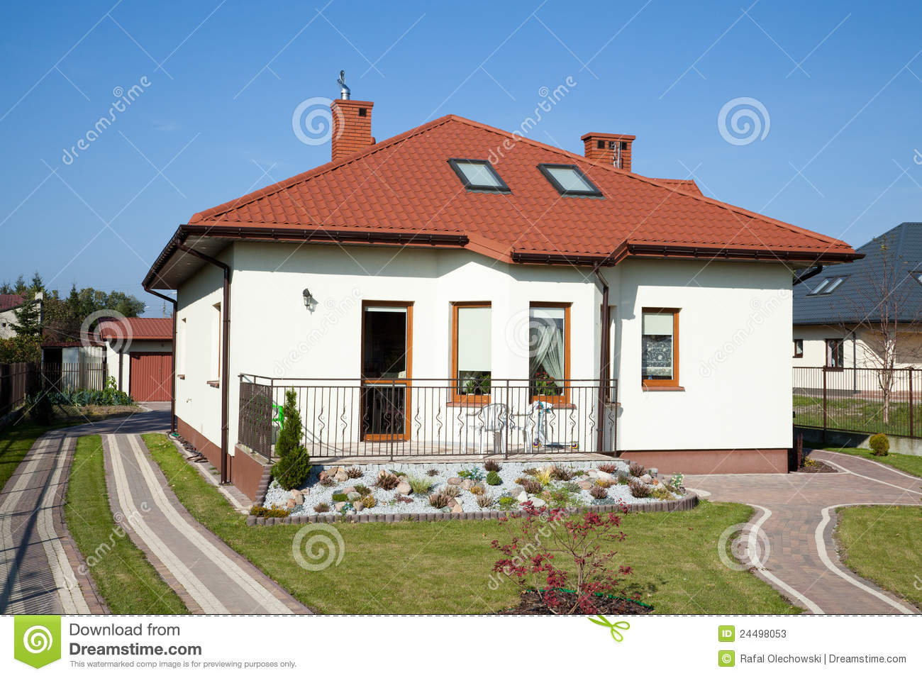Family Small House In White Color Stock Photos Image