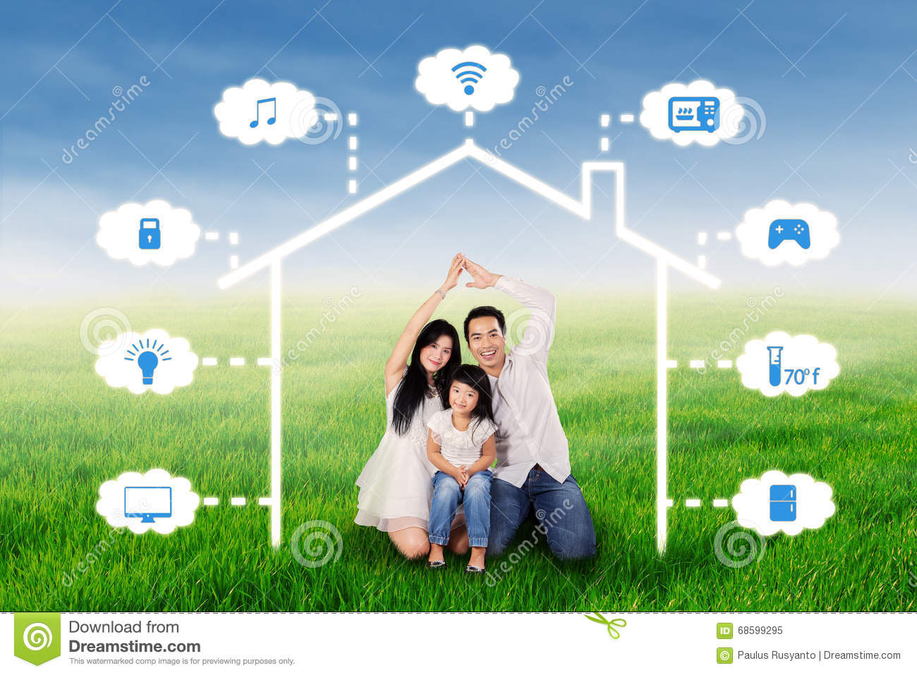 family with smart home design at field - Smart Home Design
