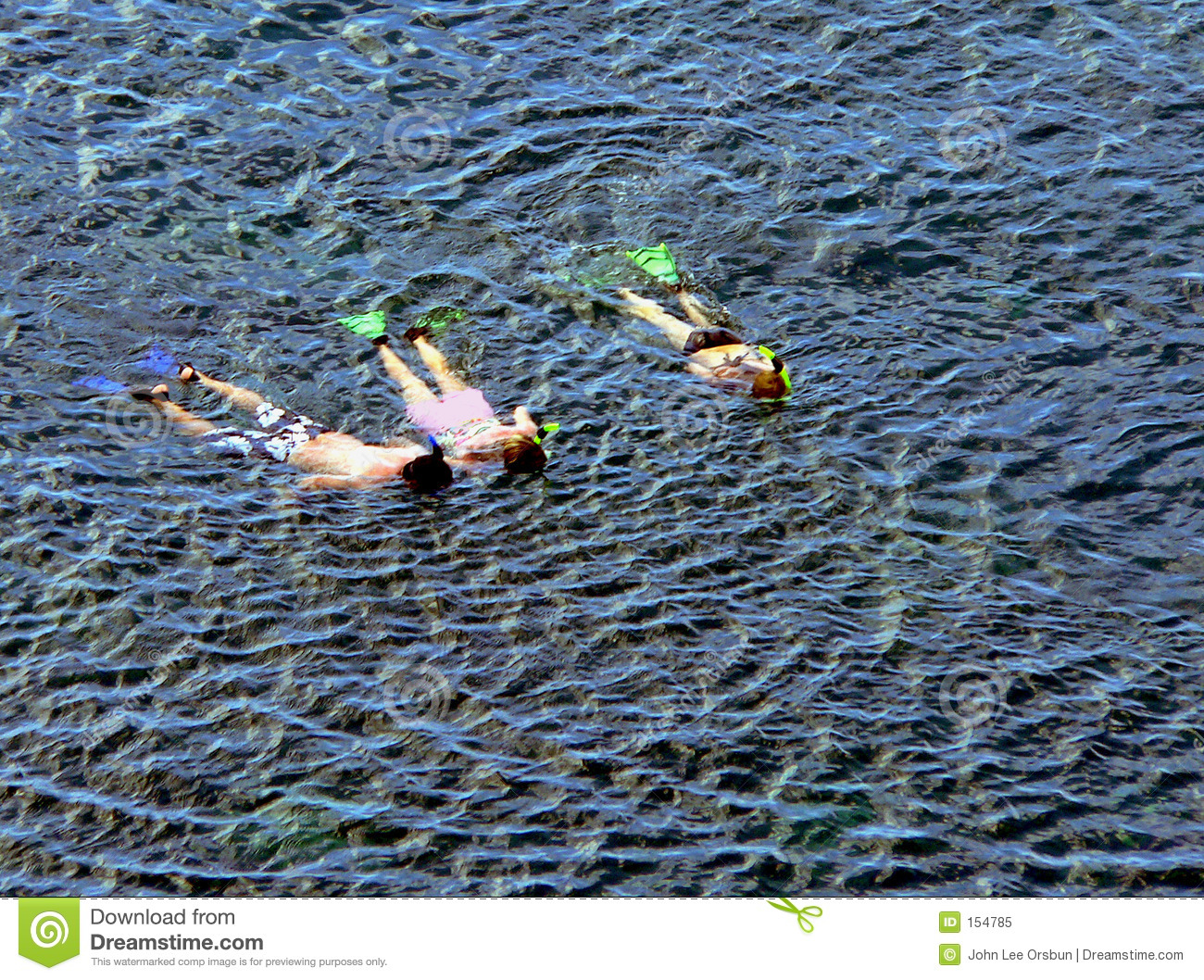 Family snorkeling together