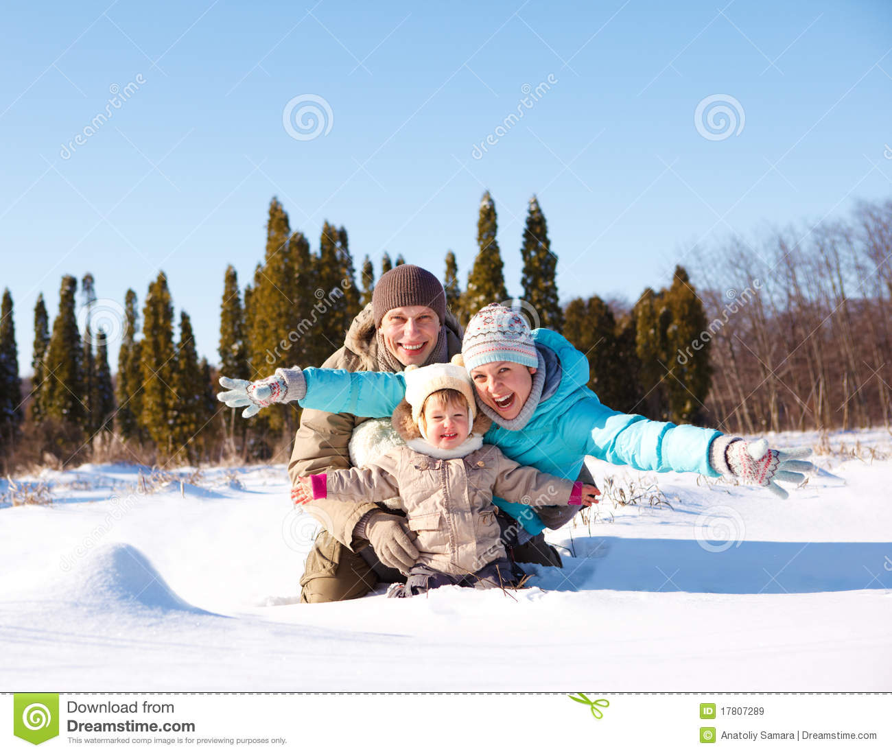 Family in snow royalty free stock images image 17807289 for Vacation in the snow