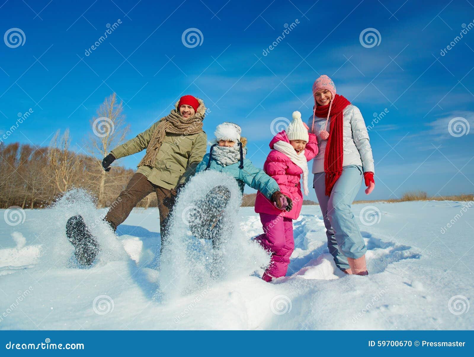 Family in snowdrift
