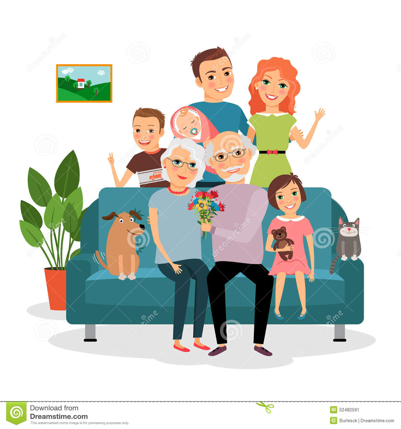 Family On Sofa Stock Vector Image 52482591