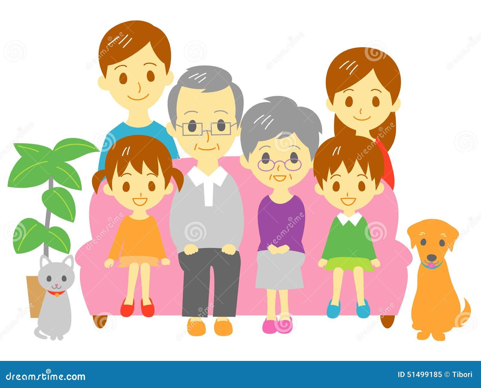 Family, Sofa, Three Generation Family Stock Vector - Image ...