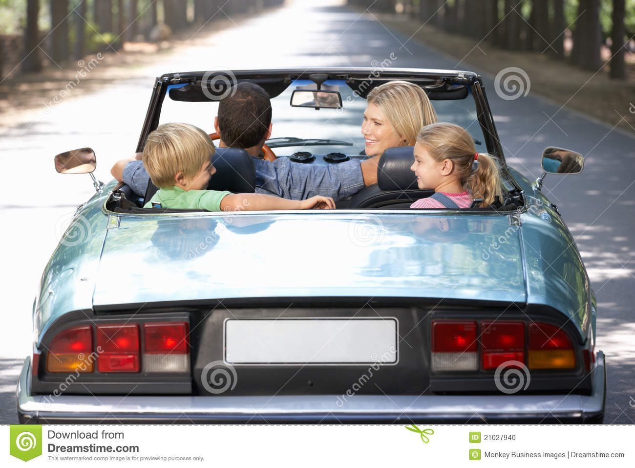 Family In Sports Car Stock Photo. Image Of Male, Down