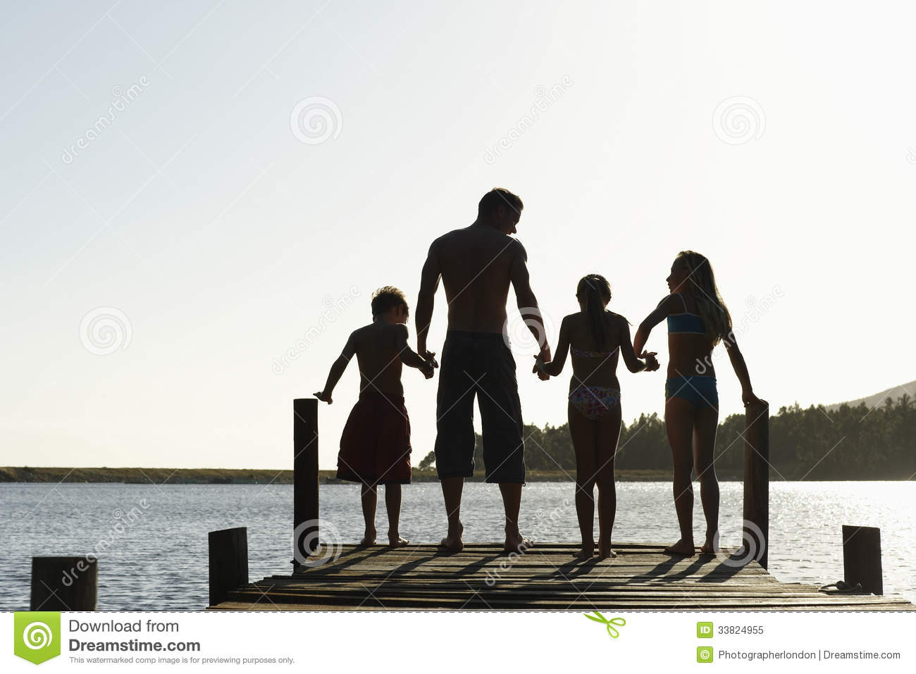 Rear view of three children holding hands with father standing on edge ...